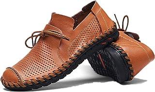 Men Shoes Summer Pu Leather Shoes Light, Soft, Tough, (Color : Red, Size : 49)
