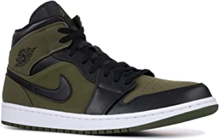 Nike Mens Air Jordan Retro 1 Mid Basketball Shoes Olive Canvas/Black-White 554724