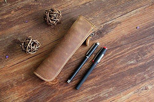 XIDUOBAO - Astuccio in vera pelle, fatto a mano, stile vintage, in vera pelle, per matite, penne, portapenne, astuccio portapenne (01)