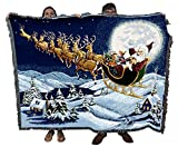 Christmas Magic - Cotton Woven Blanket Throw - Made in The USA (72x54)