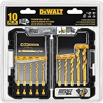10-Piece Dewalt Impact Ready Titanium Drill Bit Set