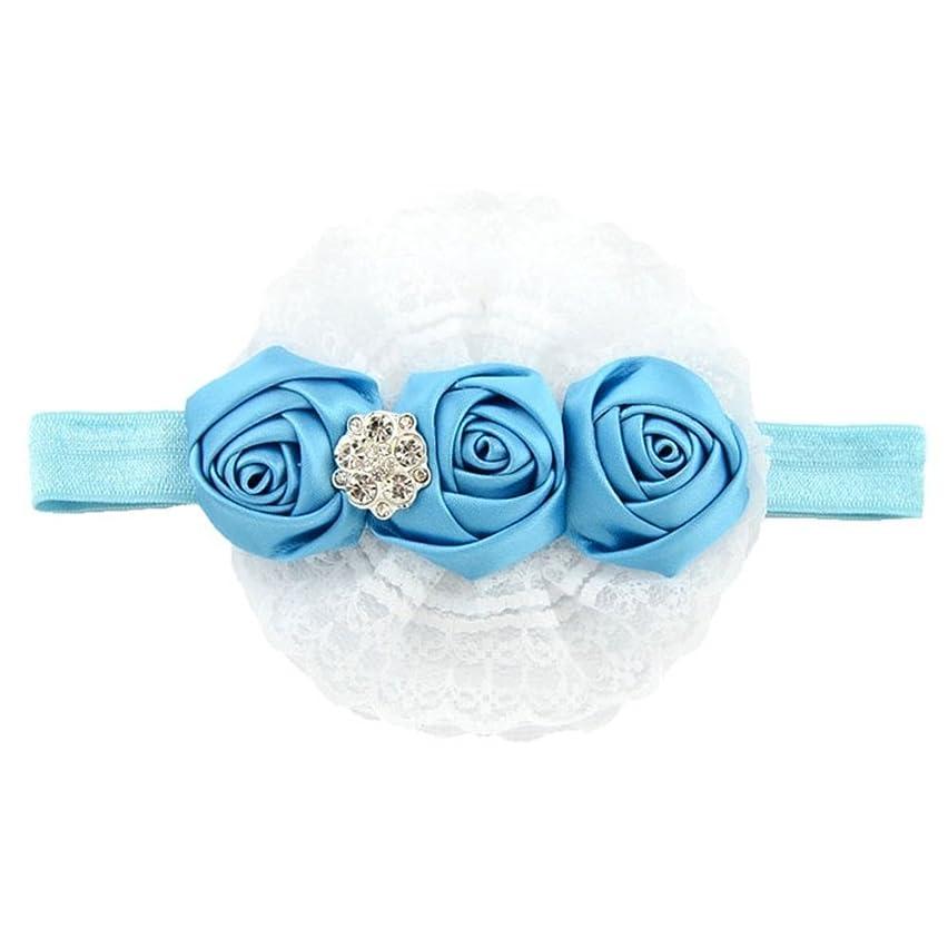 摩擦アサー温帯SODIAL(R) 小さい女の子の花の姫様レースリボン弾性ヘッドバンド(青)