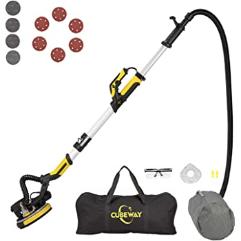 Cubeway Drywall Sander with Vacuum, Rotary and Detachable Dust Shroud for up to the Wall Sanding, Electric Drywall Sander with Variable Speed and Led Light, ETL Listed