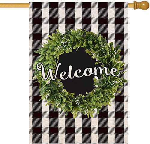 Baccessor Boxwood Wreath Welcome House Flag Vertical Double Sided, Buffalo Check Plaid Rustic Farmhouse Burlap Garden Yard House Flag Outdoor Decoration 28 x 40 Inch