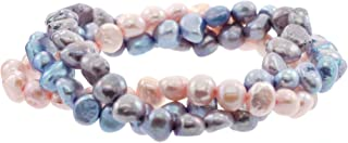 Set of 3 Genuine Cultured Freshwater Pearl Stretch Bracelets in Lavender-themed Colors