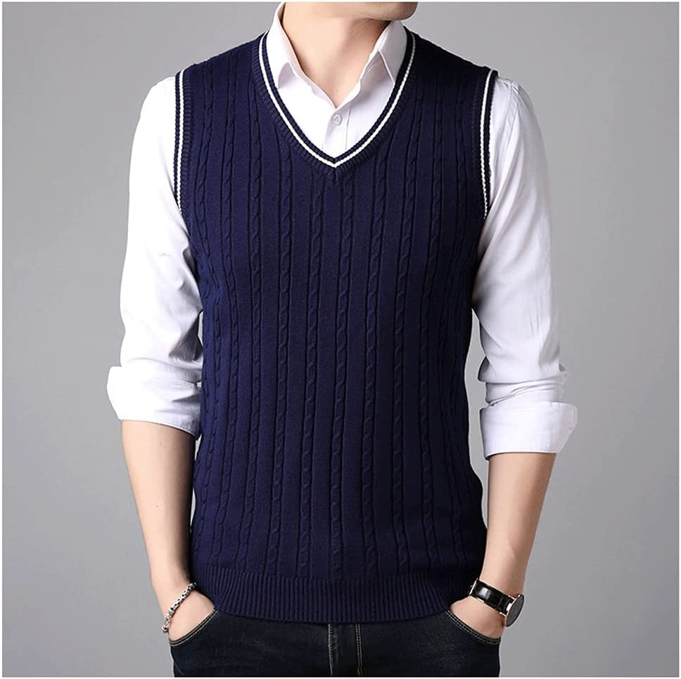 LSDJGDDE Sleeveless Sweater Tank Tops Men Spring Autumn Knitted Jumpers Vest for Men Fashion Casual Wear Vest (Color : Blue, Size : XL Code)