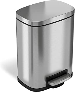 iTouchless SoftStep 1.32 Gallon Bathroom Stainless Steel Step Trash Can, 5 Liter Pedal Bin, Removable Inner Bucket, Soft and Silent Open and Close