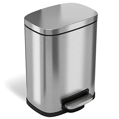 Merveilleux ITouchless SoftStep 1.32 Gallon Stainless Steel Step Trash Can, 5 Liter  Pedal Bathroom Bin,