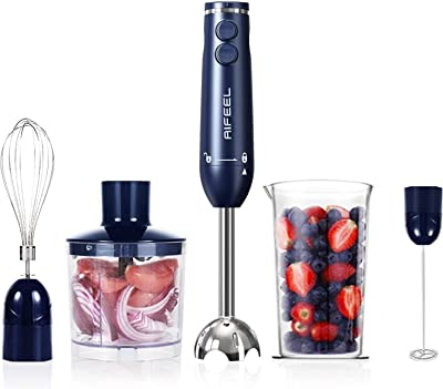 Hand Blender - 500 Watt Immersion Electric Stick Blender Set with 500ML Food Processor, 600ML Measuring Cup, SUS blending attachment and Wire Whisk - Blue (Classical Type)