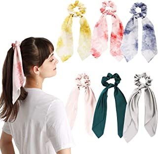 6Pcs Hair Scrunchies Silk Satin Scarf Hair Ties Elastic Hair Bands Ponytail Holder Hair Bobbles Vintage Accessories Ropes ...