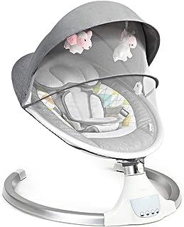 COSTWAY Babywippe mit 5 Schwingungsamplituden und Musik, Baby Schaukelstuhl mit Timing- und Bluetoothfunktion, inkl. Spielzeug, Fernbedienung, abnehmbares Verdeck und Moskitonetz Modell 1