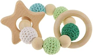 SODIAL 1 pc Wooden Wooden Teething Rings Cute Toy Rattle Toy Baby Teething Accessories - Multicolored - Star