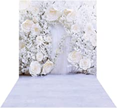 Allenjoy 5x7ft White Floral Wall Wedding Backdrop Curtain 3D Flower Wedding Reception Ceremony Bridal Shower Photography Background Decoration Supplies Studio Booth