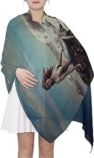 Women's Scarf Silk Scarf Blanket Lightweight Scarves Fashion Neck Scarf Poncho with Mermaid Pattern Shawl Wrap 70