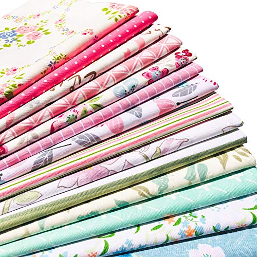 flic-flac 20 x 20 inches (51cmx51cm) Fat Quarter Cotton Quilting Fabric Thick Craft Printed Fabric High Density Bundle Squares Patchwork Lint DIY Sewing (14pcs, Pattern A)