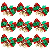 Whaline 24pcs Christmas Bow Xmas Wreaths Mini Bows Christmas Tree Bows Christmas Decorative Bows Fabric Hanging Decorations Ornaments New Year Festive, Red and Green (2 x 1.6in)