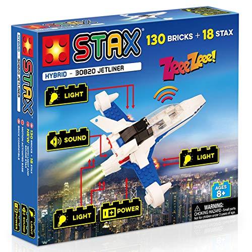 Light STAX Hybrid Jetliner 30820, Licht und Sound Bausteinset, kompatibel mit dem STAX System und allen bekannten Bausteinmarken, inklusive 130 Bausteinen und 18 STAX Bausteinen