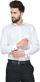 HANCOCK White Solid Pure Cotton Double Cuff with Cufflink Regular Fit Formal Shirt