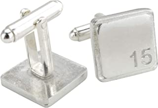 Square Cufflinks with '15' Engraved - 15th Anniversary