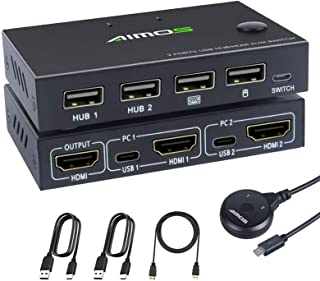 KVM Switch HDMI 2 Port Box,MLEEDA HDMI and USB Switch with 4 USB 2.0 Hub for 2 Computers Share Keyboard Mouse and 1 Monito...