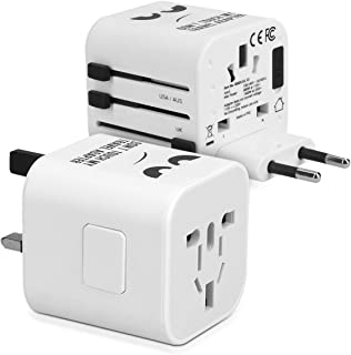 kwmobile Universal Travel Adapter - World Plug for Europe USA Australia UK Wall Outlet Plug Adapter - Don't Touch My Adapter in White