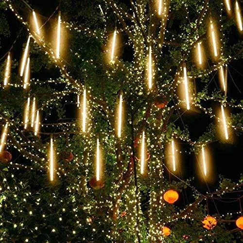 Outdoor Decorative Falling Rain Lights, Meteor Shower Light Cascading 12 inch 8 Tube 192 LEDs Double-Sided Waterproof for Garden, Trees, Party in Halloween, Christmas (Warm White)