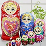 Jeccffes Russian Nesting Dolls Matryoshka Wood Stacking Nested Set 10 Pieces Handmade Toys for Children Kids Christmas Mother's Day Birthday