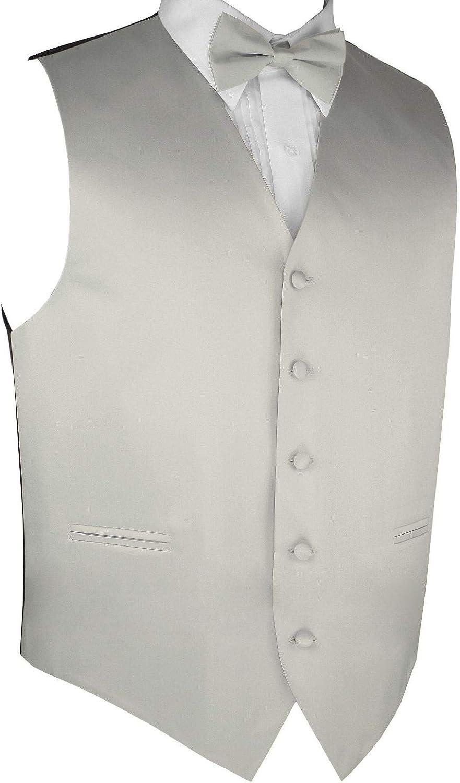 Men's Formal Tuxedo Vest & Bow-Tie Set in Platinum