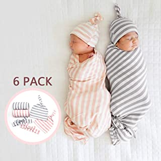 Newborn Swaddle Blanket with Knot Hat - Stripe Printed Soft Receiving Blanket Baby Shower Swaddle Sets of 2