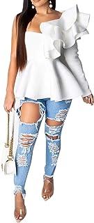 VERWIN Asymmetric Falbala Plain Mid-Length Long Sleeve Women's Blouse Backless Top Shirt