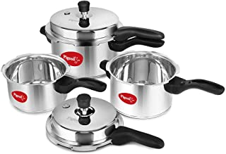 Pigeon by Stovekraft Stainless Steel Pressure Cooker Combo 2, 3, 5 Litre Outer Lid with common lid for 2L & 3 L, separate ...