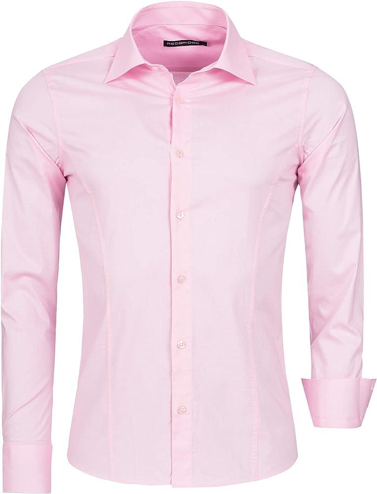 Redbridge, camicia per uomo, 97% cotone, 3% elastan, rosa chiaro R-2111F