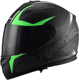 Triangle Full Face Dual Visor Matte Black Street Bike Motorcycle Helmet (Matte Green, Medium)