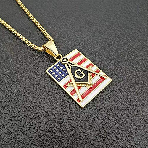 xtszlfj Collares y Colgantes con símbolo masónico de Acero Inoxidable Hip Hop para Mujeres/Hombres Color Dorado Free-Mason Bandera Americana joyería de Moda