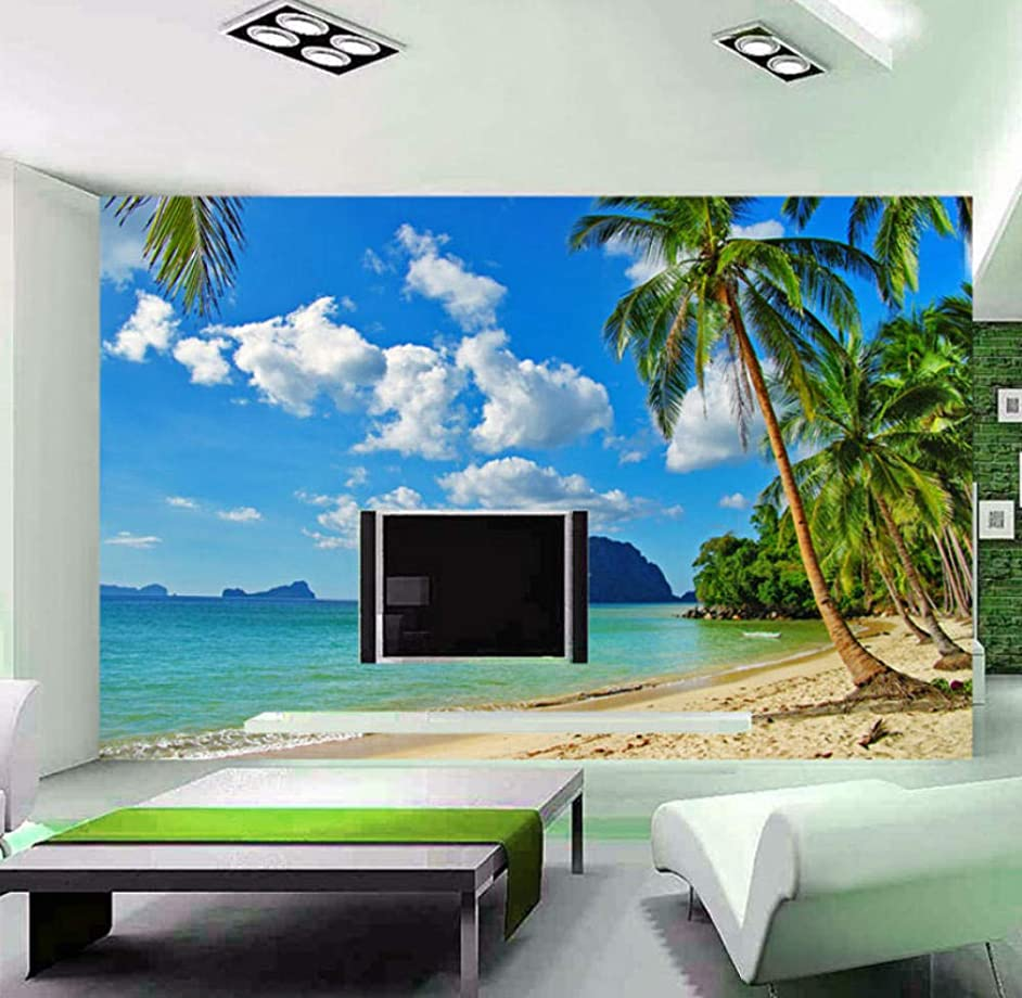 Yynight Wall Paper 3D Beach Scenery Large Wall Mural Wallpaper Bedroom Living Room Tv Background Wall Covering Wallpaper 3D-300Cmx210Cm