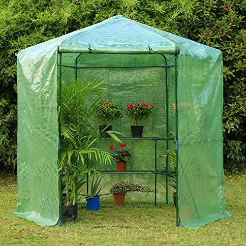 Erommy 7.5FT Portable Greenhouse 3-Tier Shelf Hexagonal Walk-in Green House Kit,Plant Hot House for Outdoor,Indoor-Green