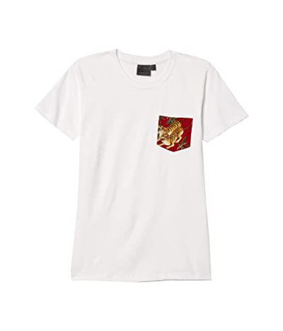 Naked & Famous Pocket Tee (White/Japanese Tigers/Red) Men