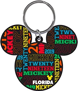 Disney 2019 Dated Mickey Mouse Head Keychain, 2 3/4 Inch