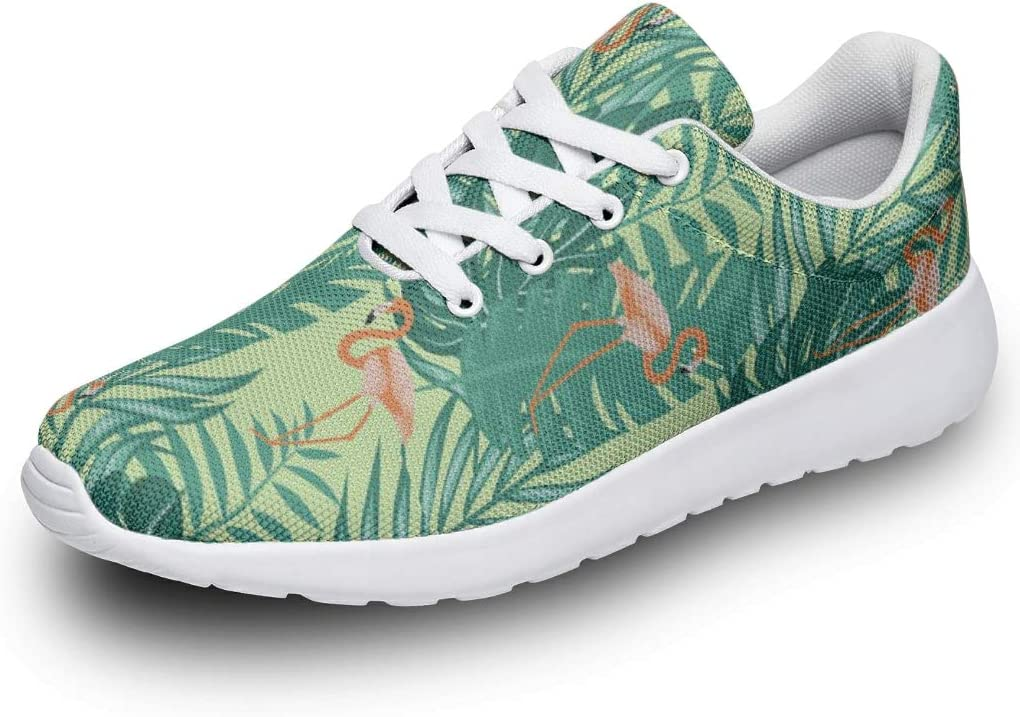 Rapid rise service DCcphiz Unisex Sneakers Casual Orange Leaf Flamingo Plants Green