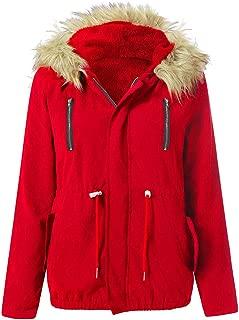 UONQD Women's Warm Military Uniform Fur Coat,Winter Warm Military Hooded Jacket Casual Faux Fur Coat Outwear