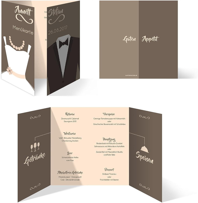 Menükarten Hochzeit Hochzeit Hochzeit (100 Stück) - Braut und Bräutigam Altarfalz in Braun - Speisekarte B01MZZND5C  | Merkwürdige Form  38a6fc
