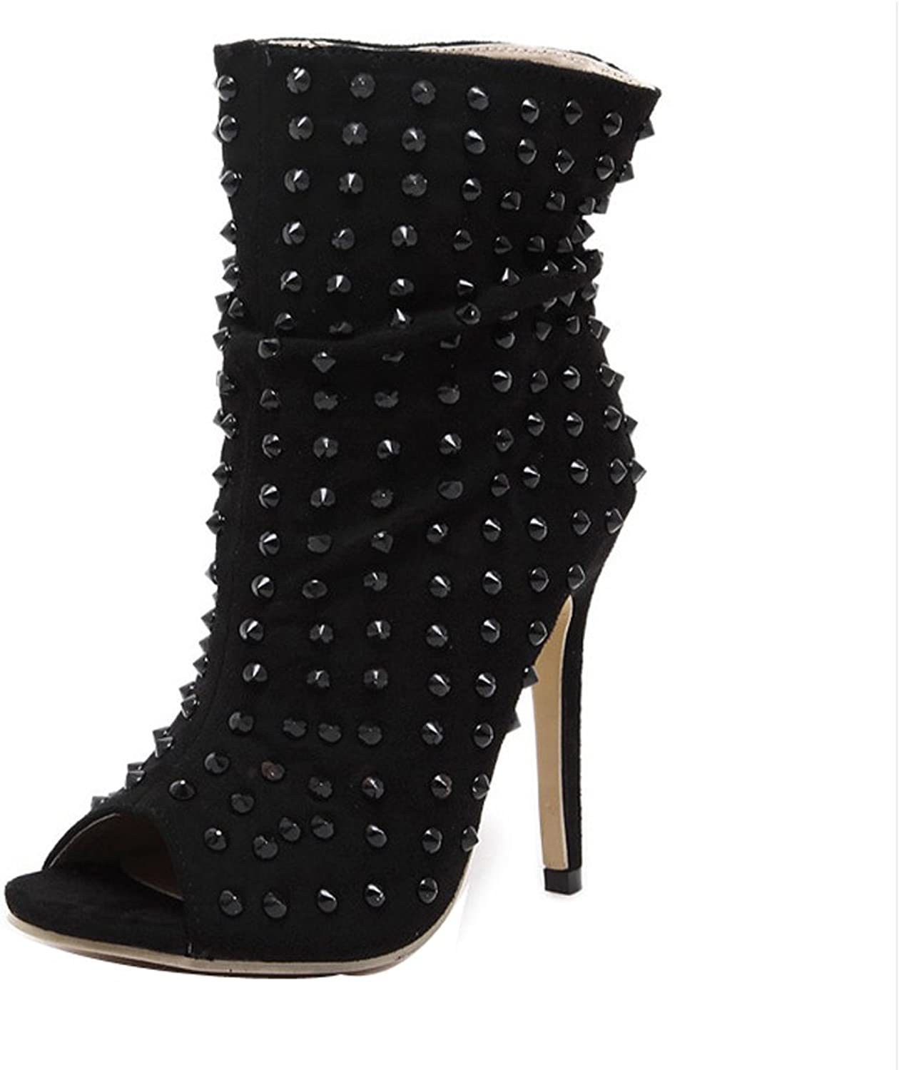 Ladola Womens Studded Peep-Toe Suede Boots