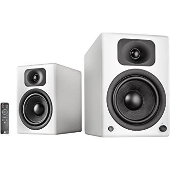wavemaster TWO PRO white – Regallautsprecher-System (110 Watt) mit Bluetooth-Streaming, digitalen Anschlüssen und IR-Fernbedienung Aktiv-Boxen Nutzung für TV/Tablet/Smartphone, mattweiß (66351)