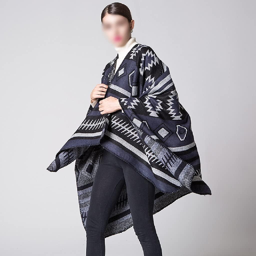 LSDJGDDE Women Autumn Winter Warm Jacquard Split Travel Shawl Stripe All-Match Split Thick Plaid Scarf Ponchos Capes (Color : Blue, Size : 150130cm)