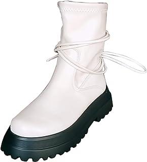 DAIFINEY Dames Winter Laarzen Platform Schoenen Gote Punk Creepers Schoenen Platte Platform Halve Laarzen Laarzen Bootie S...