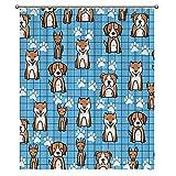 Duschvorhang Ozeanblau Cartoon H&e Gitter Badezimmer Dekor Badezimmer Gardinen Polyester Stoff Duschvorhang mit Haken 152,4 x 182,9 cm