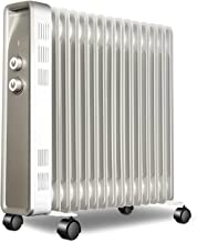 Radiador de aceite, 15 aleta de aceite relleno de aceite, calentador de espacio eléctrico portátil silencioso con perilla, estante de secado, termostato inteligente, 3 configuraciones de calor, seguri