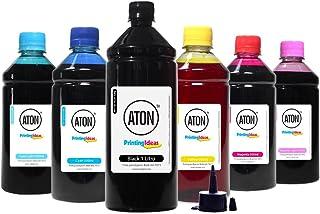 Compatível: Kit 6 Tintas para Epson Bulk ink T673 Aton Black 1 Litro Color 500ml Kit 6 Tintas para Epson Bulk ink T673 Ato...