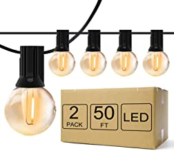 Outdoor String Lights Commercial, 50ft 1W G40 LED Weatherproof Patio Lights with 54 Edison Bulbs, Waterproof Shatterproof ...