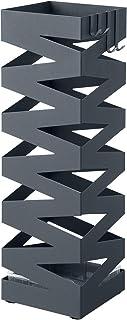 SONGMICS Porte-parapluies, Support à parapluies, carré, avec 4 crochets, réceptacle à eau, 15,5 x 15,5 x 49 cm, motifs ajo...